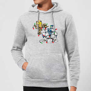 Star Wars Tangled Fairy Lights Droids Christmas Hoodie - Grey