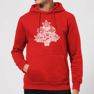 Marvel Shields Snowflakes Christmas Hoodie - Red