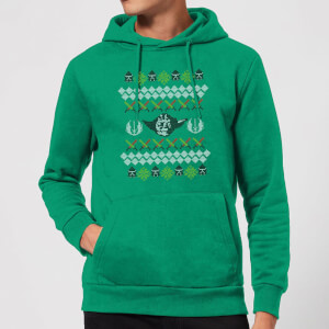 Star Wars Yoda Knit Christmas Hoodie - Kelly Green
