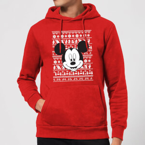 Disney Mickey Face Christmas Hoodie - Red