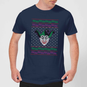 DC Joker Knit Men's Christmas T-Shirt - Navy
