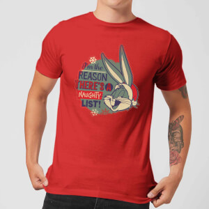 Looney Tunes I'm The Reason There Is A Naughty List Men's Christmas T-Shirt - Red