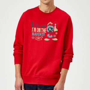Looney Tunes Martian Who Said Im On The Naughty List Christmas Sweatshirt - Red