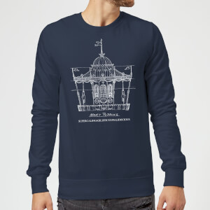 Mary Poppins Carousel Sketch Christmas Sweatshirt - Navy