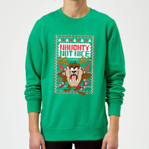 Looney Tunes Tasmanian Devil Knit Christmas Sweatshirt - Kelly Green
