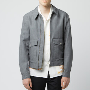 AMI Men's Patch Pocket Mohair Zip Jacket - Heather Grey