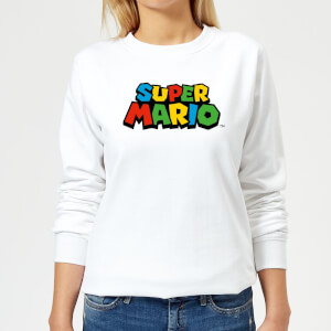 Nintendo Super Mario Colour Logo Women's Sweatshirt - White