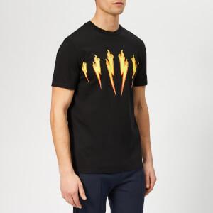 Neil Barrett Men's Bolt Flame T-Shirt - Black/Yellow