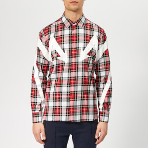 Neil Barrett Men's Arrow Bolt Tartan Shirt - White/Red/Black