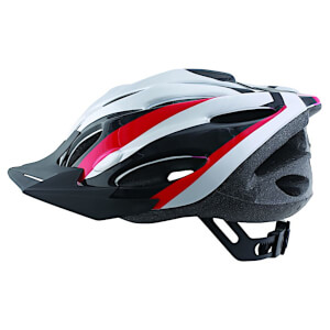 ETC Zephyr Dial Fit Adult Cycling Helmet - Silver/Black/Red