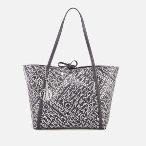fc7aec8b0ed7 Armani Exchange Women s Medium Logo Shopper Bag - Anthracite Argento