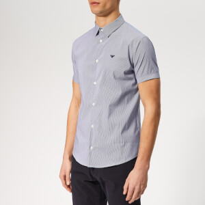 Emporio Armani Men's Stripe Short Sleeve Shirt - Riga Blue