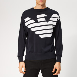 Emporio Armani Men's Large Eagle Knitted Jumper - Blue