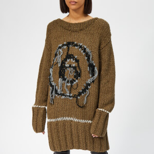 MM6 Maison Margiela Women's Hand Knitted Jumper Dress - Khaki