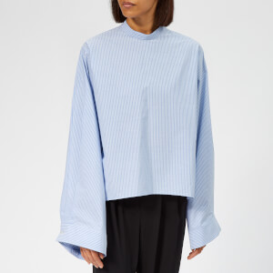 MM6 Maison Margiela Women's Stripe High Neck Blouse - Blue