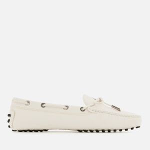 Tod's Women's Heaven Lace Up Driving Shoes - Bianco Calce