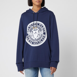 Balmain Women's Flocked Coin Hoody - Blue