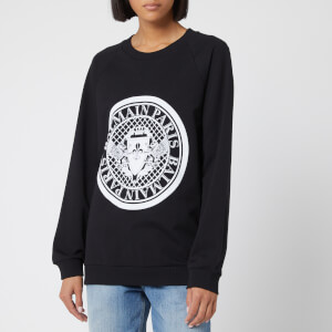 Balmain Women's Crew Neck Flocked Coin Sweatshirt - Black