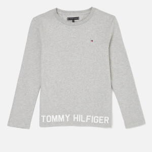 Tommy Hilfiger Boys' Hem Logo Long Sleeve T-Shirt - Grey Heather
