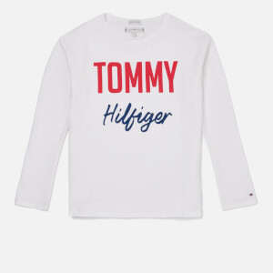 Tommy Hilfiger Girls' Essential Two Colour Long Sleeve T-Shirt - Bright White