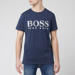 BOSS Men's T-Shirt Large Logo Rn - Navy