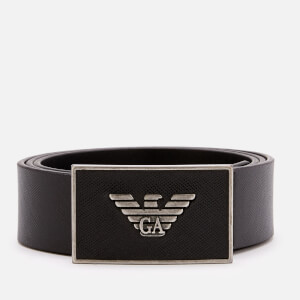Emporio Armani Men's Saffiano Leather Square Buckle Belt - Nero