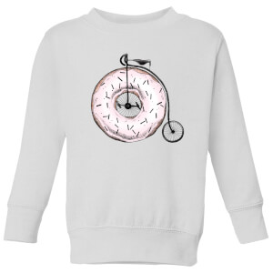 Barlena Donut Ride My Bicycle Kids' Sweatshirt - White