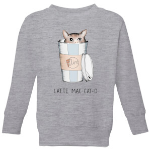 Barlena Latte Mac-Cat-O Kids' Sweatshirt - Grey
