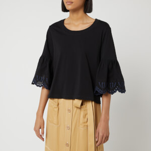 See By Chloé Women's Frill Sleeve Top - Black
