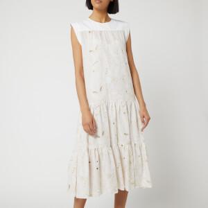 See By Chloé Women's Laser Cut Midi Dress - White Beige
