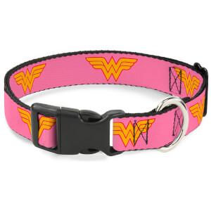 Buckle-Down DC Comics Wonder Woman Logo Plastic Clip Dog Collar - Pink (Various Sizes)