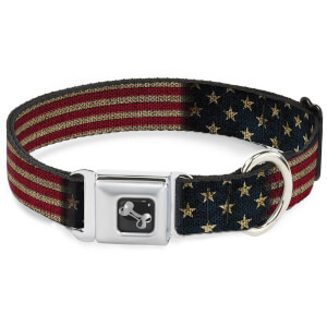 Buckle-Down Vintage US Flag Stretch Bone Seatbelt Dog Collar (Various Sizes)