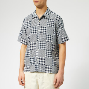 Universal Works Men's Road Shirt - Patchwork Madras Blue/White