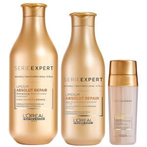 Trio de Shampoo, Condicionador e Reparador Selante Absolut Repair Lipidium da L'Oréal Professionnel Serie
