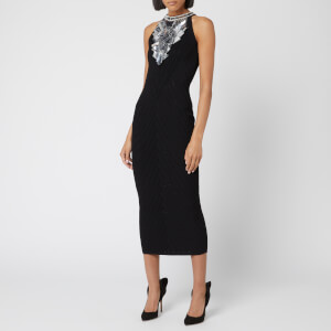 Balmain Women's Midi V Effect Knit Dress - Black