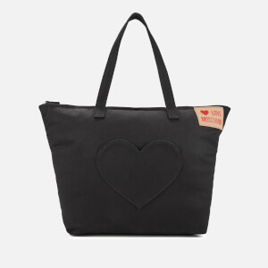 Love Moschino Women's Large Canvas Heart Pocket Tote Bag - Black