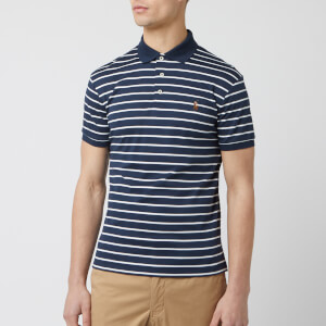 Polo Ralph Lauren Men's Stripe Pima Polo-Shirt - Navy/White