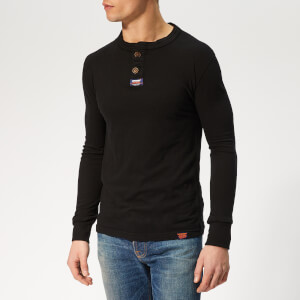 Superdry Men's Light Grandad Long Sleeve Top - Black