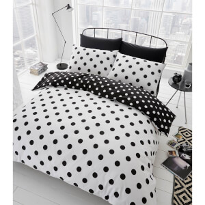 Catherine Lansfield Polka Dot Easy Care Duvet Set - Black/White