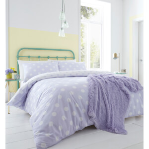 Catherine Lansfield Polka Dot Easy Care Duvet Set - Lilac