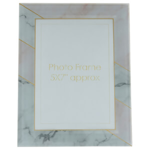 "Candlelight Grey & Pink Marble 5"" x 7"" Photo Frame"