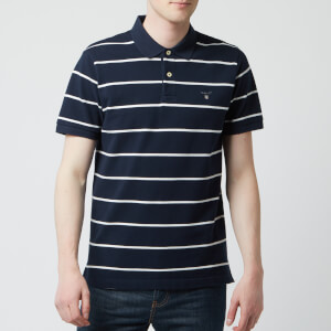 GANT Men's O1. Breton Stripe Pique Short Sleeve Rugger - Evening Blue