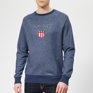 GANT Men's GANT Shield C-Neck Sweat - Dark Jeansblue Melange