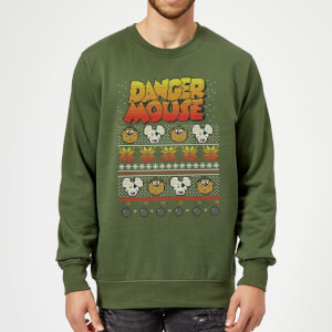 Danger Mouse Pattern Knit Sweatshirt - Forest Green