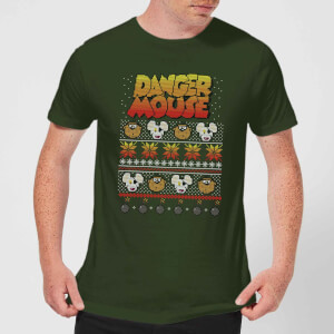 Danger Mouse Pattern Knit Herren T-Shirt - Dunkelgrün