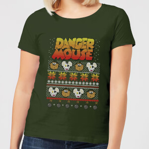 Danger Mouse Pattern Knit Damen T-Shirt - Dunkelgrün