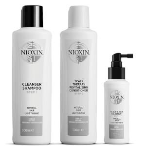 NIOXIN Kit de fidelización de 3 partes del sistema 1 para cabellos naturales con ligera disminución de volumen