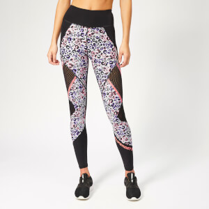 Superdry Sport Women's Active Mesh Panel Leggings - Lola Leopard Coral Print