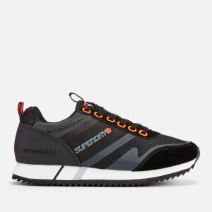 Superdry Men's Ferro Runner Style Trainers - Black/Hazard Orange/Dark Grey