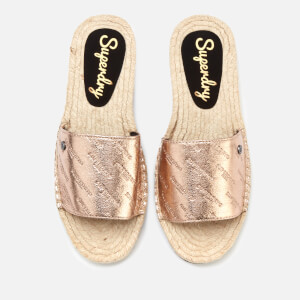 Superdry Women's Maya Slide Espadrille Sandals - Rose Gold Crackle